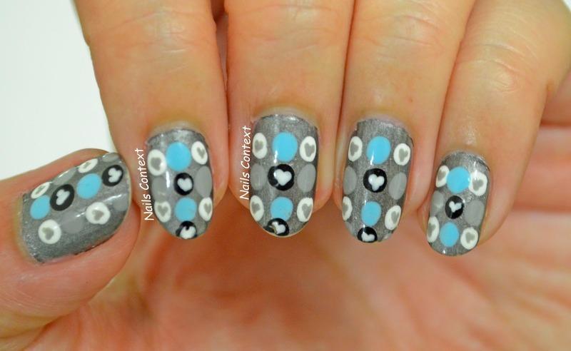 Hearts and Dots nail art by NailsContext
