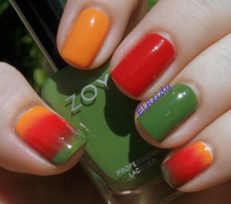 52wpnmc Red Orange And Green Nail Art By Jenette Maitland Tomblin