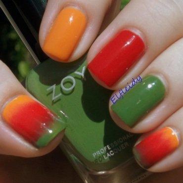 52WPNMC- red, orange, and green nail art by Jenette Maitland-Tomblin