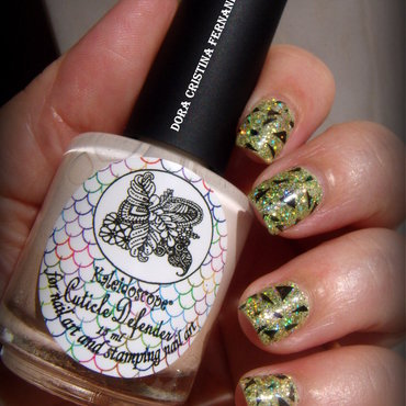 Lime Green and Stamped nail art by Dora Cristina Fernandes