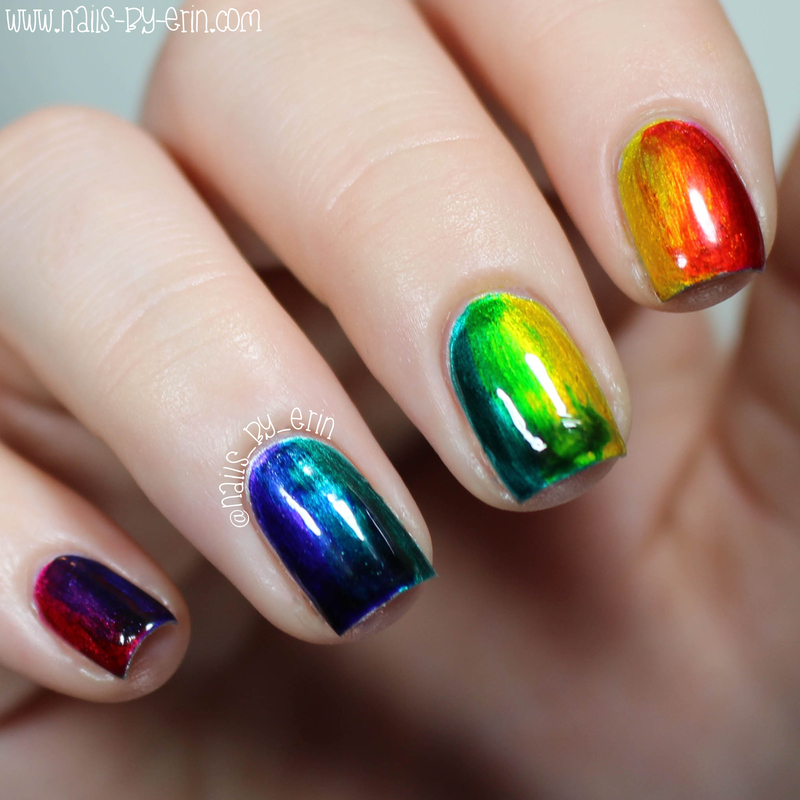 Rainbow Infinite Ombre Nails nail art by Erin