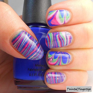 Mixed Patterns Water Marble nail art by Kerry_Fingertips