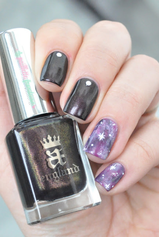 purple galaxy nail art by nathalie lapaillettefrondeuse