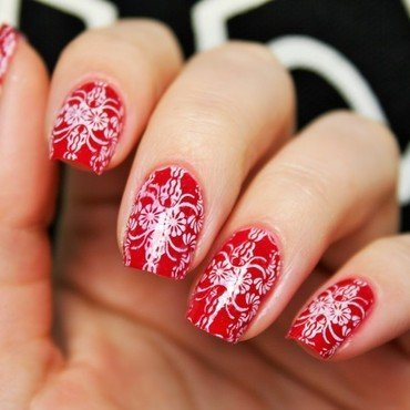 Baroque Red nail art by Jane