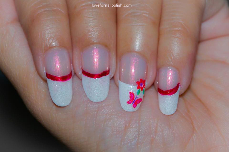 White French Tips, Butterfly and Flower! nail art by Demi - White French Tips, Butterfly And Flower! Nail Art By Demi