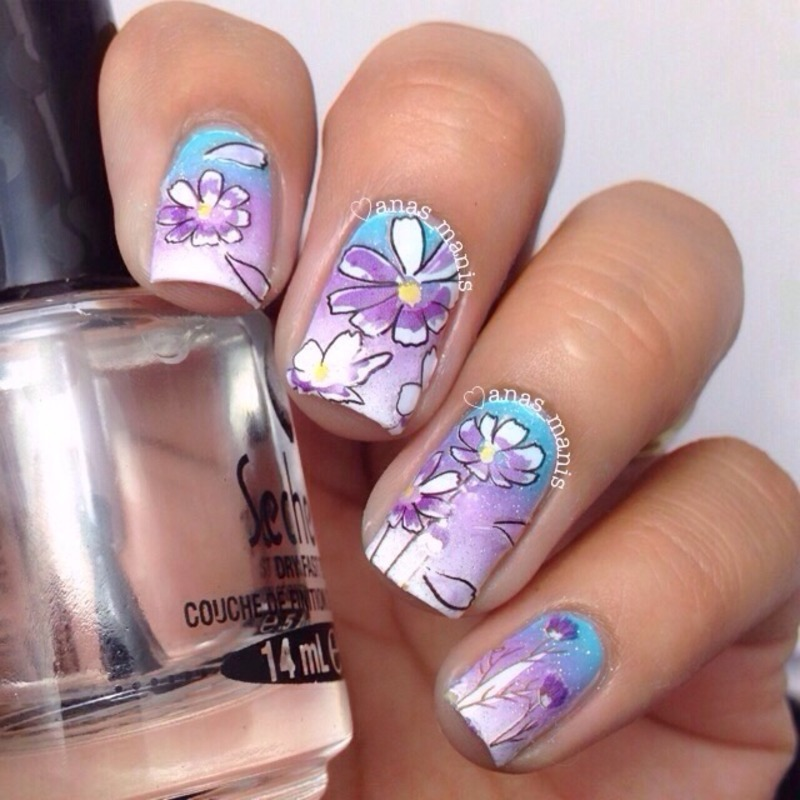 Cosmos nail art by anas_manis
