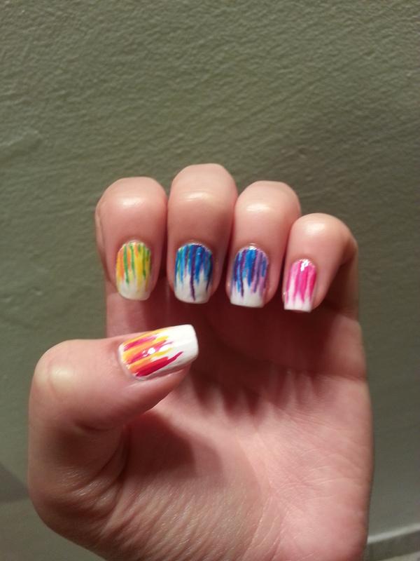 Rainbow waterfall nail art by Maya Harran