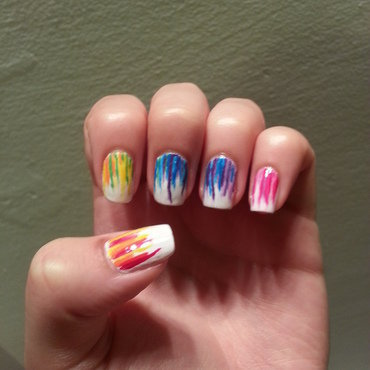 Rainbow waterfall nail art by Maya Harran