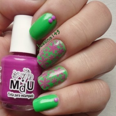 purple flowers nail art by Justine145