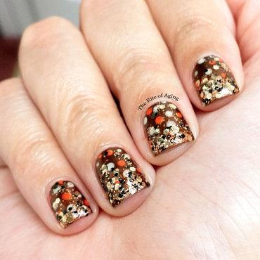 Polka Dot Glitter Gradient nail art by Monica