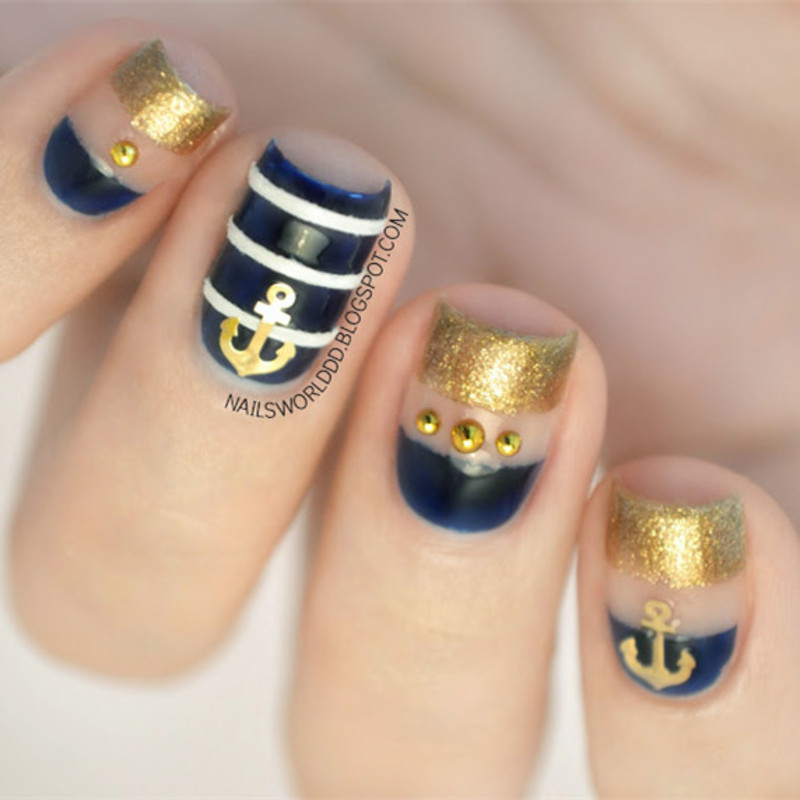 Stunning Golden Anchor Manicure nail art by Born Pretty