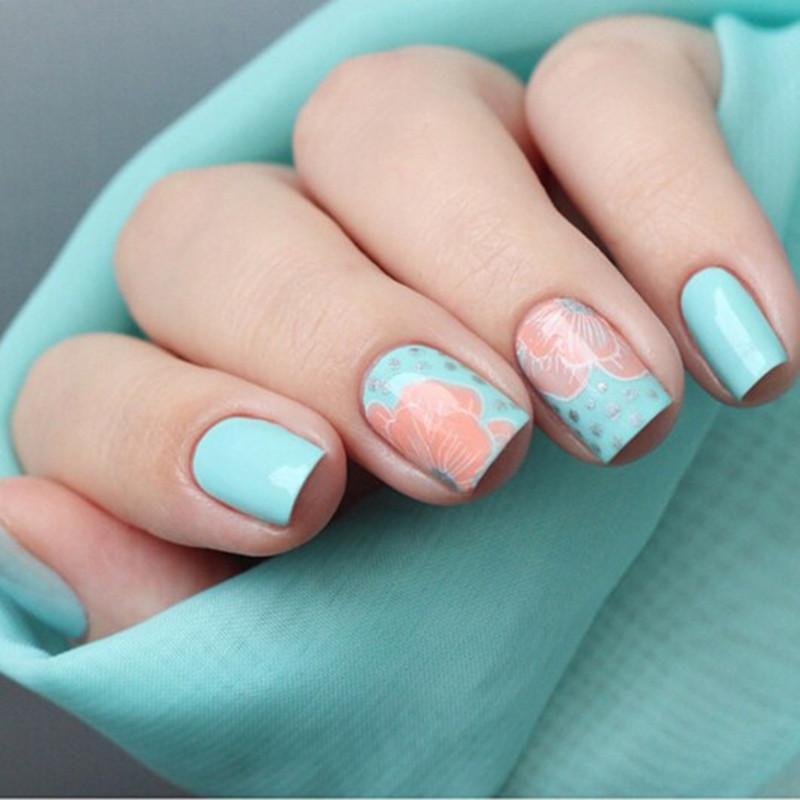 Fresh Green Floral Manicure nail art by Born Pretty
