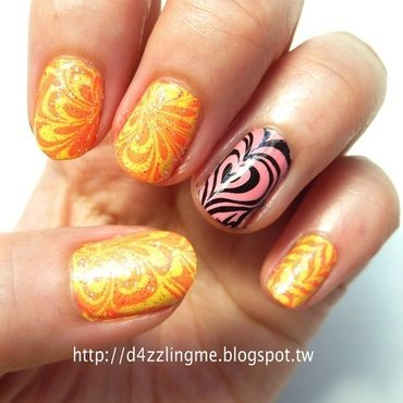Watermarble Nails  nail art by D4zzling Me