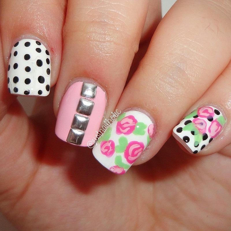Dots & Roses nail art by Melany Antelo