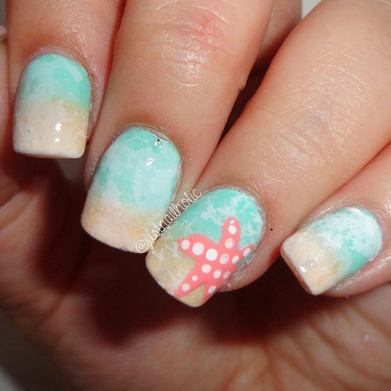 Beach Nails nail art by Melany Antelo