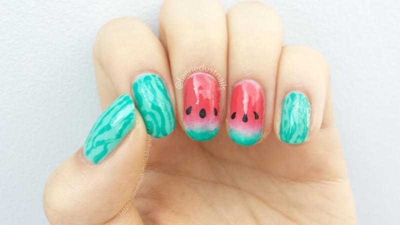 Watermelon Gradient nail art by Shirley X.