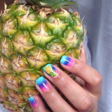 Pineapple  nail art by Massiel Pena