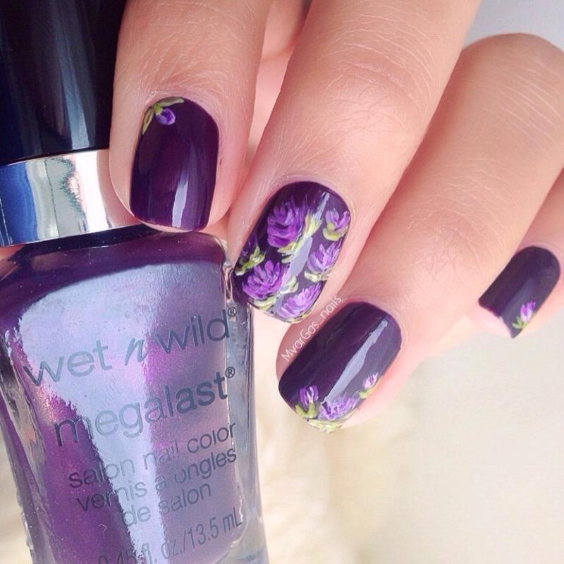 Purple Roses  nail art by Massiel Pena