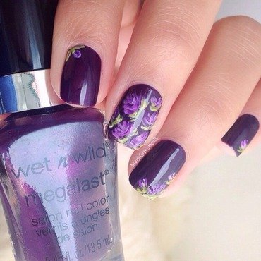 Purple Roses  nail art by Massiel Pena