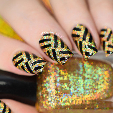Fancy gold holo party nails nail art by simplynailogical