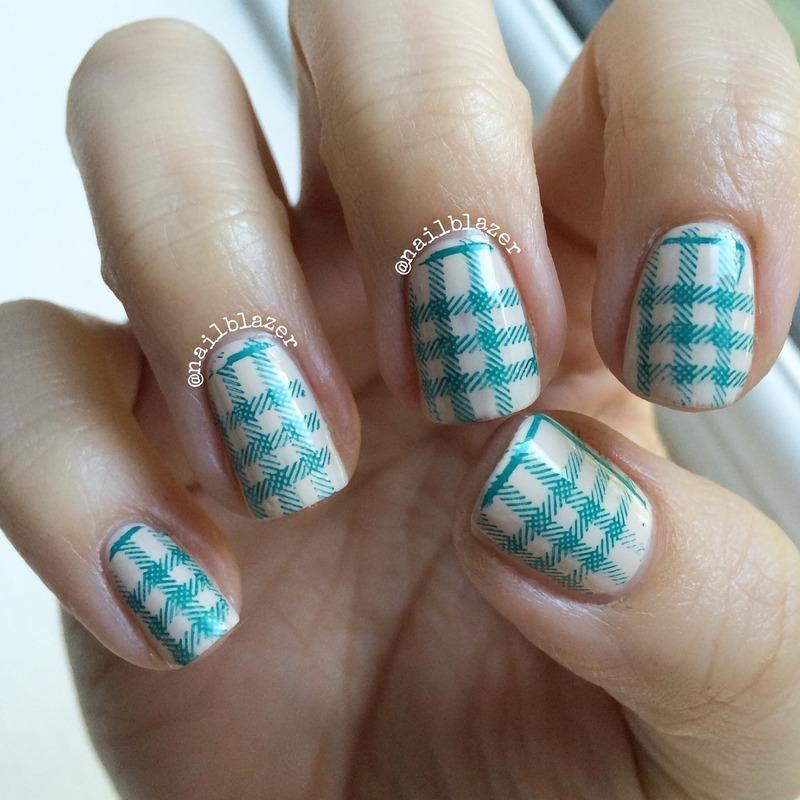 Plaid Stamp nail art by Nailblazer
