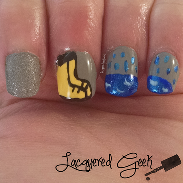 April Showers nail art by Kim (Lacquered Geek)