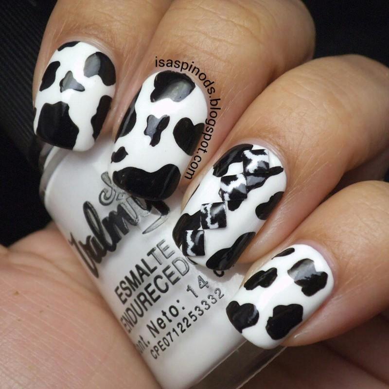 #Reto31Dias2015 Día 13 - Estampado Animal - Vaca nail art by Isabel