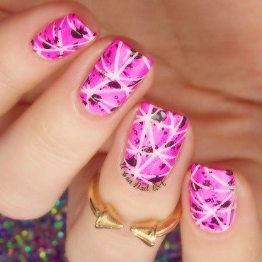 Abstract Neon Pink Manicure nail art by Lou