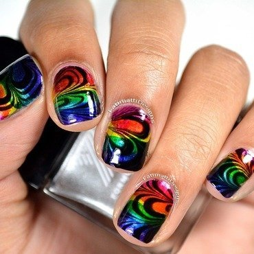 Rainbow Petal Water Marble nail art by Fatimah