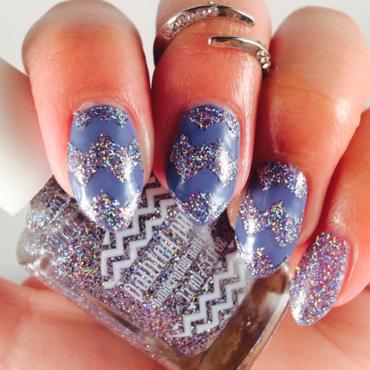 Lavender Glitter Cheverons nail art by Bianca  Pants