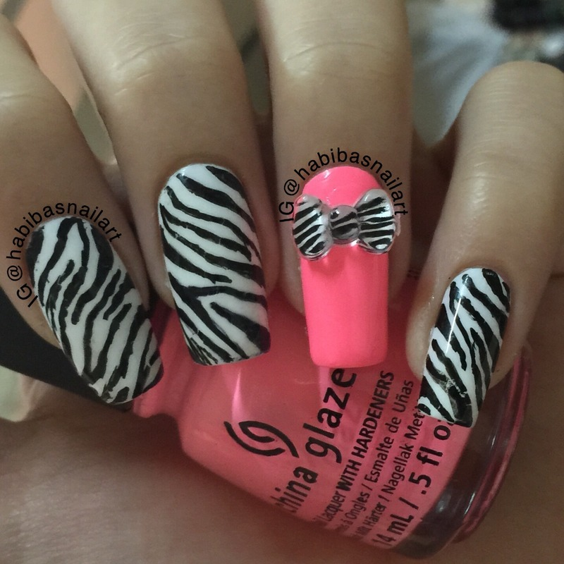 Neon and zebra  nail art by Habiba  El-kallas