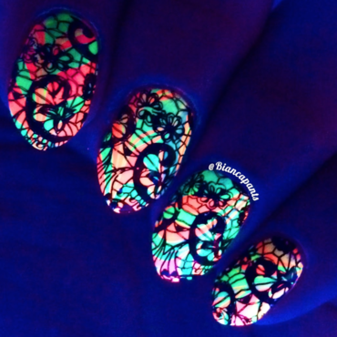 Glowy Neon Water Marble nail art by Bianca  Pants