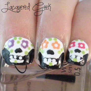 Sugar Skulls nail art by Kim (Lacquered Geek)