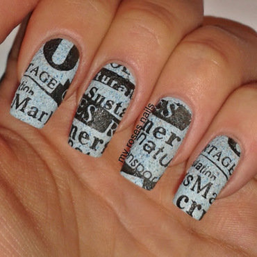 Newspaper stamping nail art by Ewa