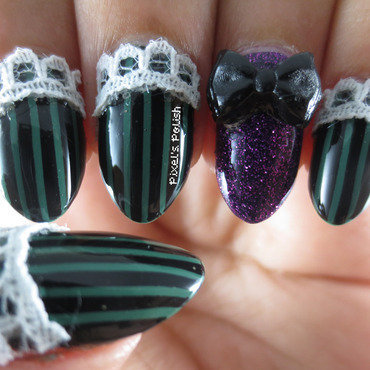 Haunted Mansion Inspired nail art by Pixel's Polish