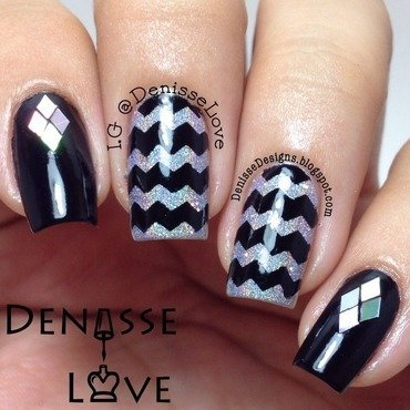 Holographic Chevrons nail art by Denisse Love