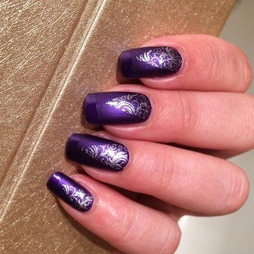Deep purple  nail art by Varvara