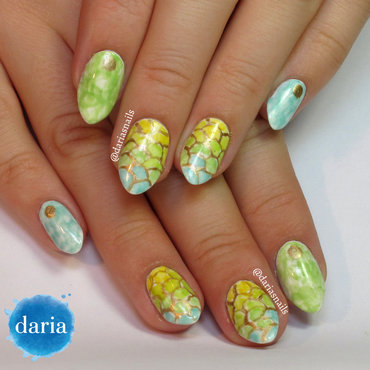 Pastel mermaid nail art by Daria B.