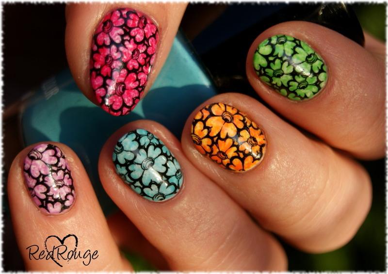 Saran wrap skittles flowers nail art by RedRouge