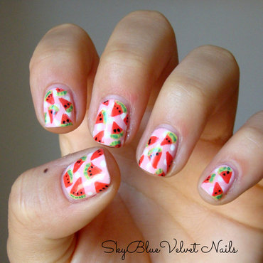 Yummy watermelons nail art by Sky Blue Velvet Nails