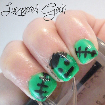Frankenstein nail art by Kim (Lacquered Geek)