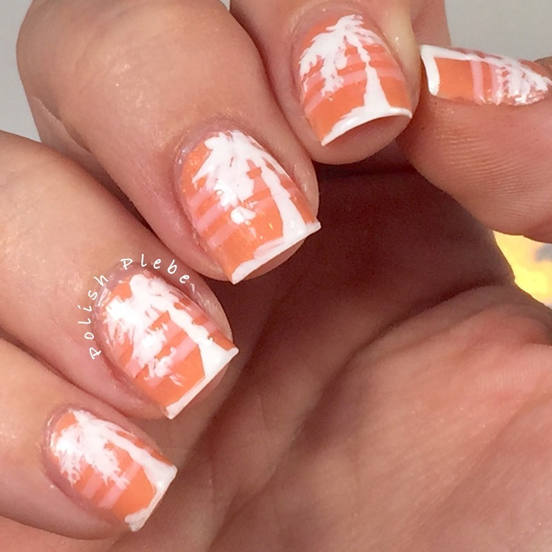 80's Inspired Palm Trees nail art by Crystal Bond