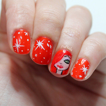 Jessica Rabbit nails nail art by Fran Nails