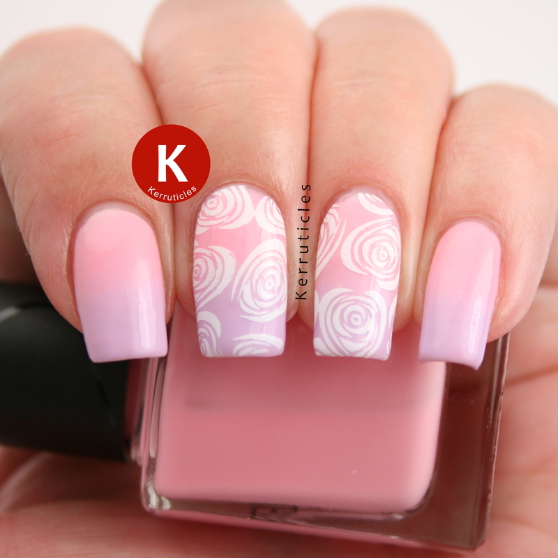 Pink and lilac gradient with white roses nail art by Claire Kerr