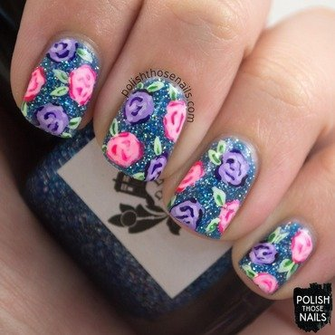 Blue sparkles purple pink rose nail art 4 thumb370f