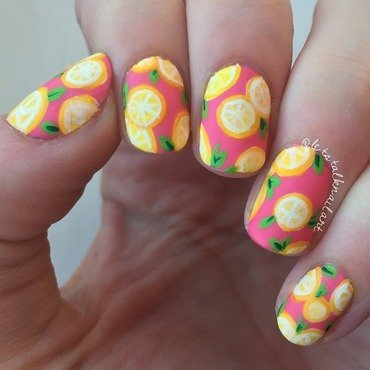 Malibu Lemon nail art by Lottie