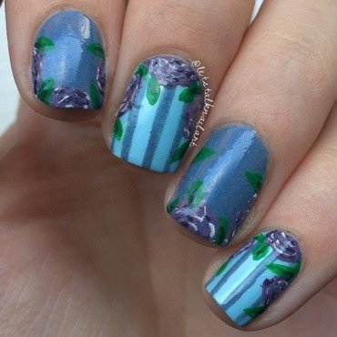Purple roses nail art by Lottie