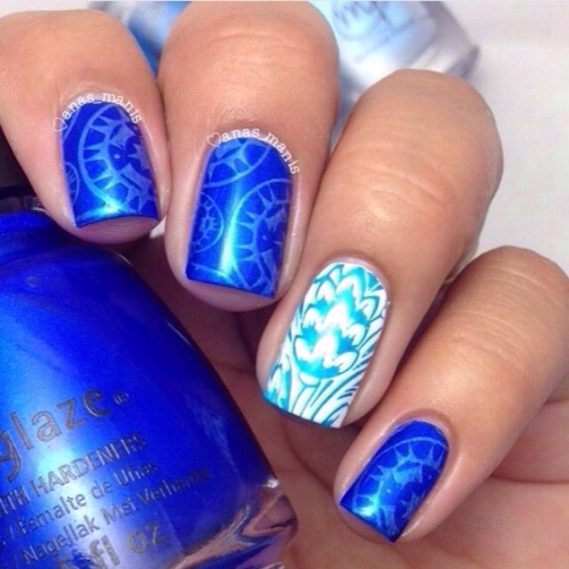 Blue on blue nail art by anas_manis