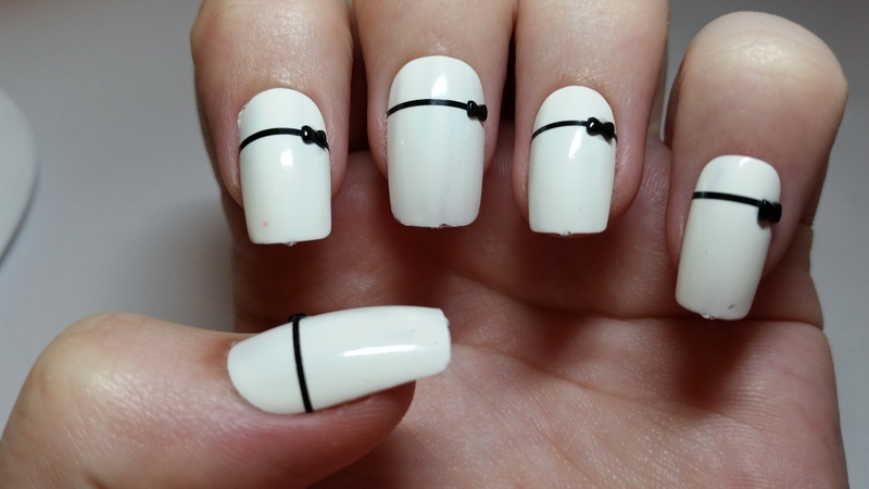 White Bridal Fake Nails With Black Bow Design Nail Art By Ellie