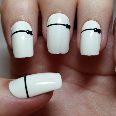 White Bridal Fake nails with Black bow design  nail art by Ellie Louise
